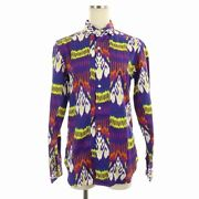 Polo Golf Shirt Blouse Long Sleeve Total Pattern Purple Tagged /nm