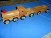 Rare Dippon 20 Train And Car 1960s Vintage Germany Wooden Wood Toy