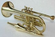 Echo Cornet 4 Valve Gold Finish Eb Pitch With Hard Case Bag And Mouthpiece