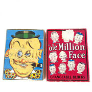 Childrenand039s Vintage Toy 1998 Optical Toys Ole Million Face Changeable Wood Blocks