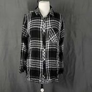 Beach Lunch Lounge Womens Black White Plaid Long Sleeve Collared Blouse Large