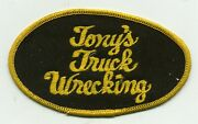 Vintage Tony's Truck Wrecking Sew On Jacket Patch. Service Station.