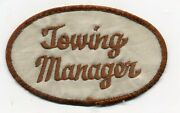 Vintage Towing Manager Sew On Jacket Patch. Service Station.