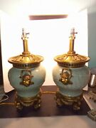 Pair Vintage Celadon Glaze Chinese Lion Head Carved Green Floral Baluster Lamps