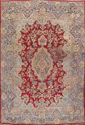 Antique Red Floral Kirman Hand-knotted Area Rug Traditional Oriental 9x12 Carpet