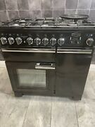 Rangemaster Professional Deluxe 90 Cm Dual Fuel Range Cooker In Black And Chrome