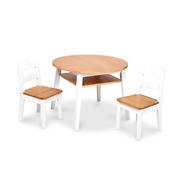 Melissa And Doug Wooden Round Table And 2 Chairs Set Light Woodgrain/white