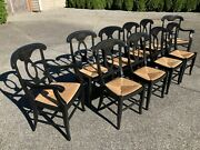Pottery Barn Stained Wood And Rattan Rush Chairs 9 X Dining, 2 X Carvers