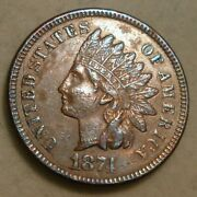 1874 Indian Head Cent Coin Xf-au Details