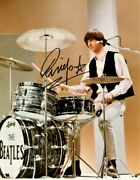 Beatles Ringo Starr Signed 8 X 10 Color Drumming Photo