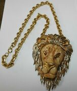 Vintage Statement Lion Head Runway Necklace Unsigned Luca Razza Gold Tone Chunky