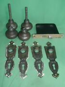 Antique Brass Plated 4 Back Plates, 2 Door Knob Sets, 1 Mortise Lock, Age Patina