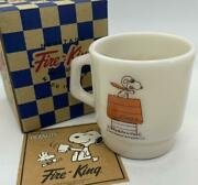 Fire-king Stacking Mug Cup Peanuts Snoopy Red Baron White Color 215 Ml
