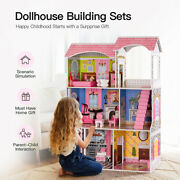 Large Classic Wooden Dollhouse Family Doll House W/furniture Toy For Kids
