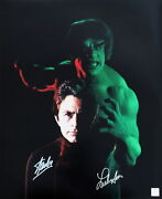 Stan Lee And Lou Ferrigno Autographed Incredible Hulk Bixby 16x20 Photo Asi Proof
