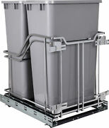 Hardware Resources Sws-mbmd50 15 Bottom Mount Double Bin Pull - Grey