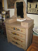 Antique Chest Of Drawers With Mirror Victorian 1880and039s Hand Painted With Flowers