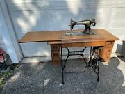 Antique 1900and039s Singer Treadle 7 Drawer Sewing Machine Oak No Pedal Great Cond