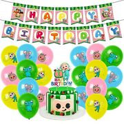 Cocomelon Birthday Party Decorations Supplies Kit For Kids W/banner