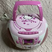 Hello Kitty Stereo Cd Cassette Player Radio Boombox Sanrio Collectible Works