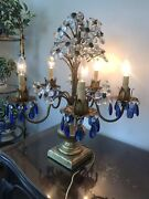 Italian Tole Crystal Flowers And Blue Chandelier Lamp