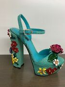 Dolce And Gabbana Nib Turquoise Hh Wedge Open Toe Ankle Strap Flowers Shoes 7 .5