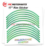 Green J17 17 Rim Decals Holographic Stickers For Zzr1400 2012-2020 20 19 18 17