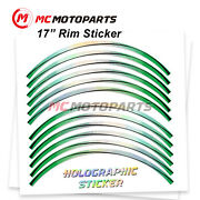 Green J18 17 Rim Decals Holographic Stickers For Zzr1400 2012-2020 20 19 18 17
