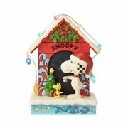 Jim Shore Snoopy By Dog House-merry And Bright Peanuts 6008967 New In Box