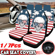 1/7x Universal Car Seat Cover Front And Rear Full Set Skull Printed Protec