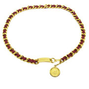 Cc Logos Medallion Gold Red Chain Belt Leather Accessories 04665