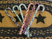 Lot Of 6 Primitive Candy Cane Ornaments Fabric Farmhouse Christmas Ornies