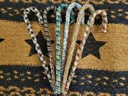 Lot Of 6 Primitive Assorted Candy Cane Ornaments Fabric Christmas Ornies