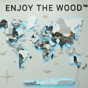 New Wooden World Map Led Decoration Gift Home Wall Decor Card Travel Art Large