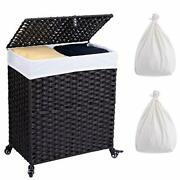 Laundry Hamper With Wheels And 2 Liner Bags, Synthetic Rattan Wicker Black