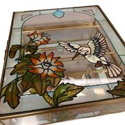 Vintage Mirrored Stained Glass Humming Bird - Flower Jewelry Box Display Case