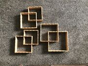Vintage Wood Floating Display Shadow Box Cube Shelves Scallop Edge Set Of 3