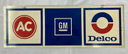 Vintage Ac Delco Gm Double Sided Painted Metal Sign 1960s