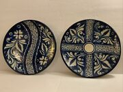 Majolica Hand Painted 2 Ceramic Wall Hanging Decorative Plates 10andrdquo Vintage