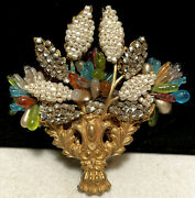 """Miriam Haskell Brooch Pin Rare Vintage Huge 3"""" Signed Gilt Glass Rhinestone A5"""