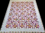 Beautiful Mint 1970and039s Hand Sewn 9 Spi Pink Purple Gold Floral Star Quilt 94x80