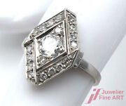 Antique Ring - 18k Wg - Diamonds Together Approx. 10 Ct Tw / Si - 0.1oz - 48