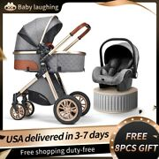 Luxurious Baby Aluminum Stroller 3 In 1 Portable Travel Travel System +8pcs Gift