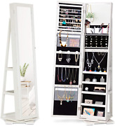 360 Rotating Jewelry Stand Organizer - Jewelry Armoire With Full-length Mirror-