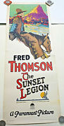 1928 The Sunset Legion-fred Thompson Rare And Original 14x36 Insert Poster, Silent