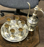Rare Handcrafted Antique Russian Silver Art 5 Cups Tray Dallah Gold Plated Old