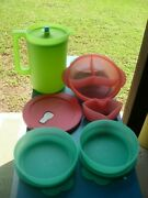 New Tupperware Neon Pitcher 1676 Microwave + Cold Cup Cereal Bowls + Lids More