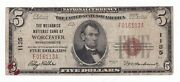 National Currency 1929 5 Worcester,mass. Charter 1135