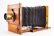 Antieke Houten Platencamera 5x7and039and039 Large Format Plate Camera W Waterbury Lens V13