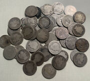 Roll Of 50 Barber Dimes. Mixed Dates And Mints. -06